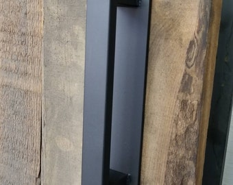 "Barn Door Handle - 1/2"" x 1"" Rectangle Steel on Low Profile 2"" Backer - Loft Door, Industrial Door 10"" - 26"""