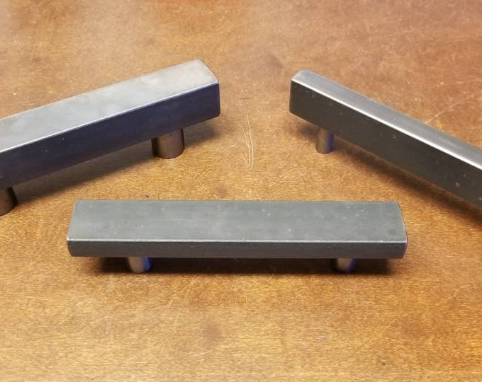 "Modular Series Contemporary Steel Cabinet door/drawer pull 5/8"" and 1"" sizes - 5"" - 20"""