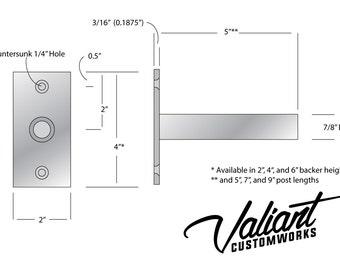 "Steel 7"" Long 7/8"" DIY Floating Shelf Bracket Pair - For Heavy oversize shelves measuring 2"", 4"", or 6"" thick."