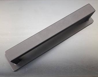 """Back-mounting Barn Door Handle - 1/2"""" x 1"""" Rectangle Steel on Low Profile 2"""" Backer - Loft Door, Industrial Door 10"""" - 30"""""""