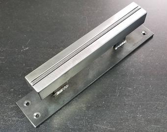 "Modern-Industrial Barn Pull or Sliding Door handle - 1-3/16"" wide on 2"" backer"