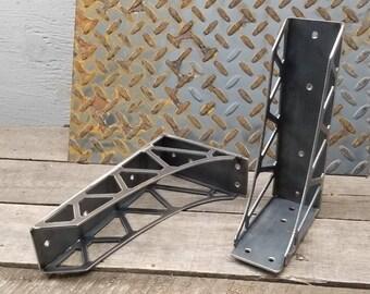 Steampunk Double-truss Industrial Shelf Brackets (Pair)