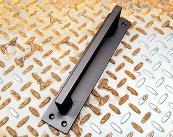 """Narrow Grip Barn Door Handle - 1"""" x 1/2"""" Rectangle Steel on 2"""" Backer - Loft Door, Industrial Door 10"""" - 36"""""""