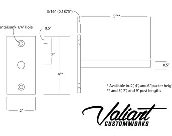 "Steel 4-12"" Long 1/2"" Post DIY Floating Shelf Bracket Pair - For oversize shelves measuring 2"", 4"", or 6"" thick."