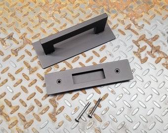 """BARN DOOR SET - 1"""" x 1/2"""" Steel Handle on 3"""" backer and Matching 2"""" Recessed Door Pull"""