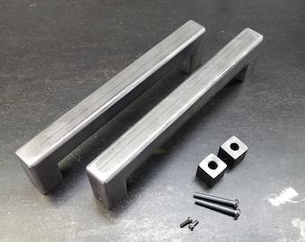 """BARN DOOR SET - 1-1/4"""" Steel door handle set - hidden hardware 8"""" - 34"""""""