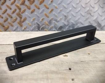 """Barn Door Handle - 1/2"""" x 1"""" Rectangle Steel on Low Profile 2"""" Backer - Loft Door, Industrial Door 10"""" - 36"""""""