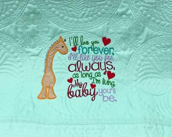 Mint Green Baby Quilt, Giraffe Quilt Embroidery & Applique, Baby Quilt, Custom Order with First Name if desired, Lap Quilt, Crib Quilt