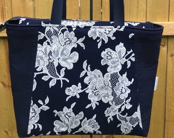 Navy Tote, Everyday Tote, Zipper Purse, Shoulder Bag, Market Bag, Totes, Bags and Purses