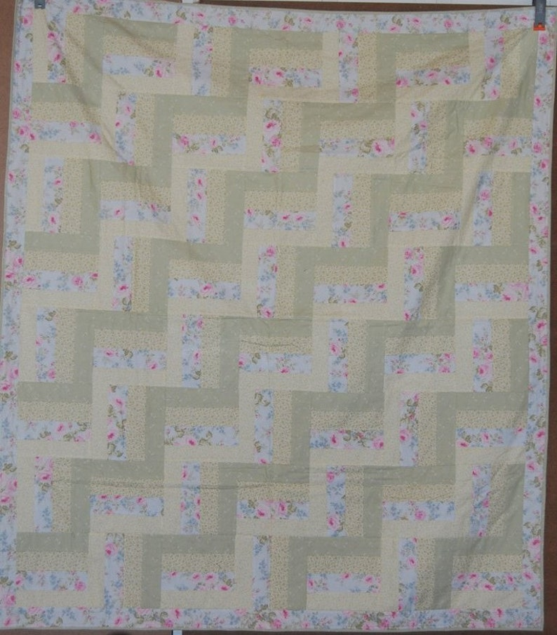 Rail Fence Quilt Pastel Colors Throw Quilt Blanket Soft image 0