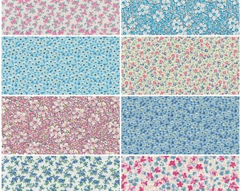 Cotton  fabric Fat Quarters blue with white flowers retro daisy  face covering
