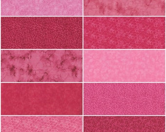 """Fat Quarter Bundle, Lot of 10 Pink, Fuchsia, Magenta Multiple Color Pinks - Cotton Fabric Fat Quarters, Quilting Sewing & Crafts, 18"""" x 22"""""""