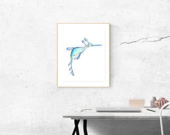 Seahorse illustration  A5 - Original