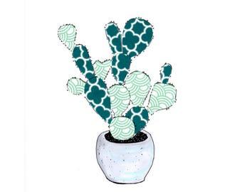 Cactus in concrete pot original collage illustration