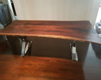 Einzelne Platte Live Rand Nussbaum Esstisch Tisch Treffen Tisch Esstisch  Küche Tisch Ernte Holztisch Reclaimed Konferenztisch