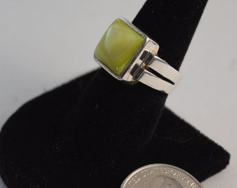 Silpada Modernist Chartreuse Stone Sterling Silver Ring, Size: 8 1/4