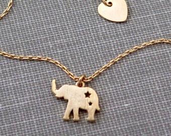 Tiny Elephant Necklace, Gold Elephant Necklace, Delicate Gold Elephant Necklace, Elephant Jewelry