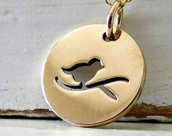 Bird On Branch Necklace, Gold Bird On Branch Necklace, Gold Bird Necklace, Gold Bird Jewelry, Nature Jewelry