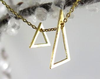 Dainty Triangle Necklace,  Gold Floating Triangle Necklace, Dainty Charm Necklace, Layering Necklace, Elegant, Minimal Necklace