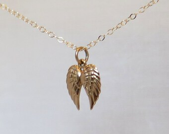 Angel Wings Charm Necklace, Angel Jewelry, Gold Angel Wings Charm Necklace, Gold Necklace, Angel Necklace