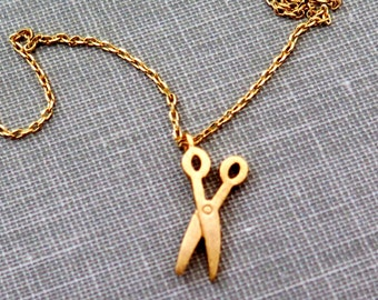 Tiny Gold Scissors Necklace, Gold Necklace, Scissors Necklace, Minimalist Necklace, Layering Necklace, Gift for Hair Dresser