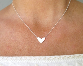 Heart Necklace Silver Necklace  Dainty Minimal Simple Layering Trendy Necklace Anniversary Gift