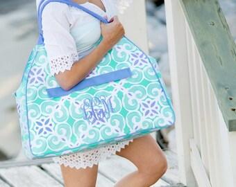 Monogram Tote ~ Monogram Tile Tote ~ Monogram Tote Bag ~ Preppy Mint and Blue Beach tote ~ Monogram Beach Bag