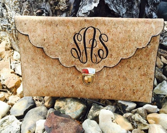 Cork Clutch ~ perfect Bridesmaid Clutch ~ Cork Clutch ~ Monogram Wedding Clutch