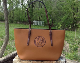 Monogram Purse Bag Tote/ Monogram BrownPocketbook, Brown monogram purse/ Classic Black purse/ Designer Inspired Tote/ Leather purse