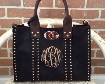 Beautiful Studded Medium Size Purse~Black Studded Purse ~ Double Bag~ Crossbody Strap