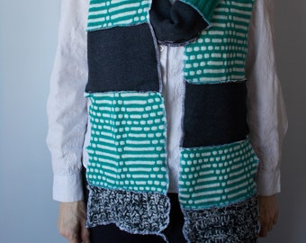 Green & Black Long Knit Scarf, Upcycled Sweater Scarf, Multi Color Grey Black and Green Knit Scarf