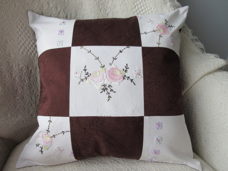 16 x 16 Patchwork Pillow Cover Embroidered Pillow Cover Dark image 0