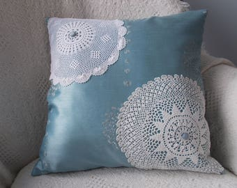 Blue Satin Pillow Cover, Doily Pillow Cover, Upcycled Doily Pillow, 16 x 16 Blue Pillow Cover