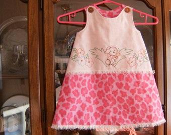 Girls Size 3/4 Dress, Vintage Embroidered Girls Dress, Upcycled Pink Leopard Print Jumper