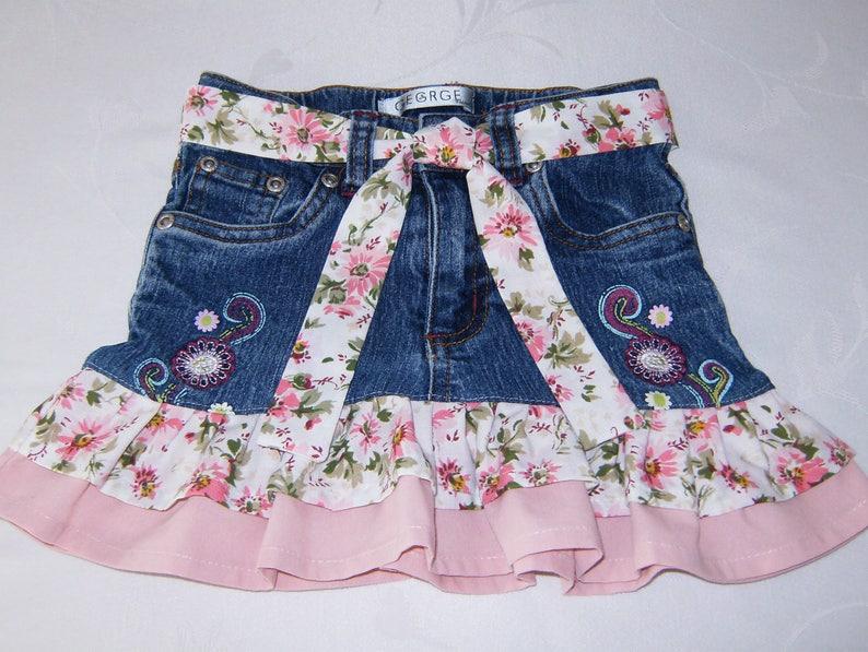dcf8ad505 Upcycled Girl's Jean Skirt Girl's Size 4 Denim Skirt | Etsy
