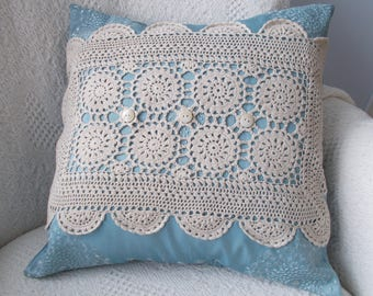 Blue Pillow Cover, Doily Pillow Cover, Upcycled Doily Pillow Cover, 16 x 16 Blue Pillow Cover