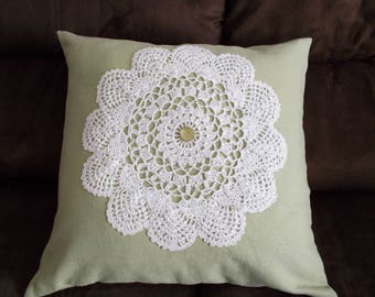 Green Throw Pillow Cover, Upcycled Doily Pillow Cover, 16 x 16 Throw Pillow Cover, Green Envelope Pillow Cover