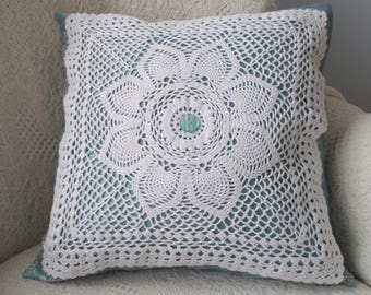 Blue & White Pillow Cover, Doily Pillow Cover, Upcycled Doily Pillow Cover, 16 x 16 Pillow Cover