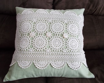 Green Pillow Cover, 16 x 16 Pillow Cover, Doily Pillow Cover, Upcycled Doily Pillow Cover, Shabby Chic Pillow Cover