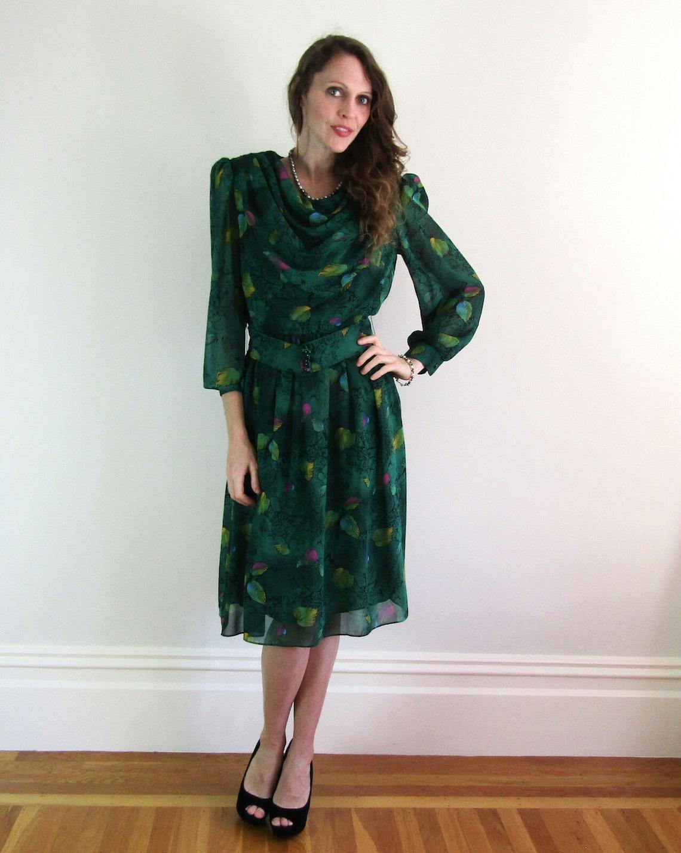 Vintage 70s 80s Green Draped POISON OAK DRESS Rainbow