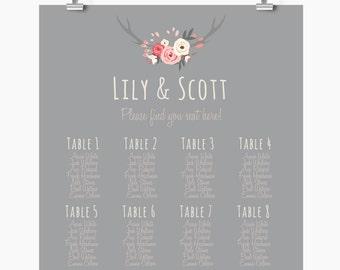 Wedding Seating Chart,  Printable seating chart, Find your seat sign,  winter wedding seating chart,  cheap wedding