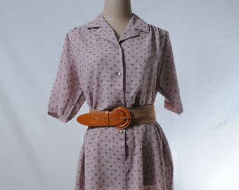 Vintage pink gray polka dot midi dress