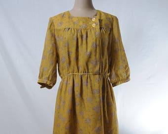 Vintage yellow autumn leaves print woven midi dress