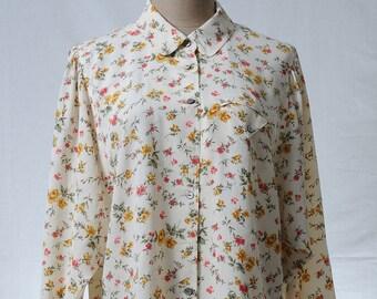 Vintage cream floral print bat wing sleeve sweet blouse