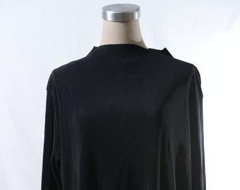 Vintage black high neck pressed verticle crease top