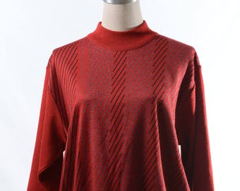 Two dollars SALE! Vintage red / black twill high neck sweater