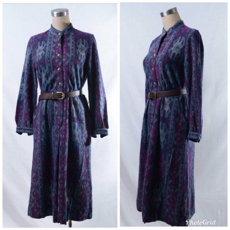 Vintage purple blue ethnic pattern dress with gold tone button