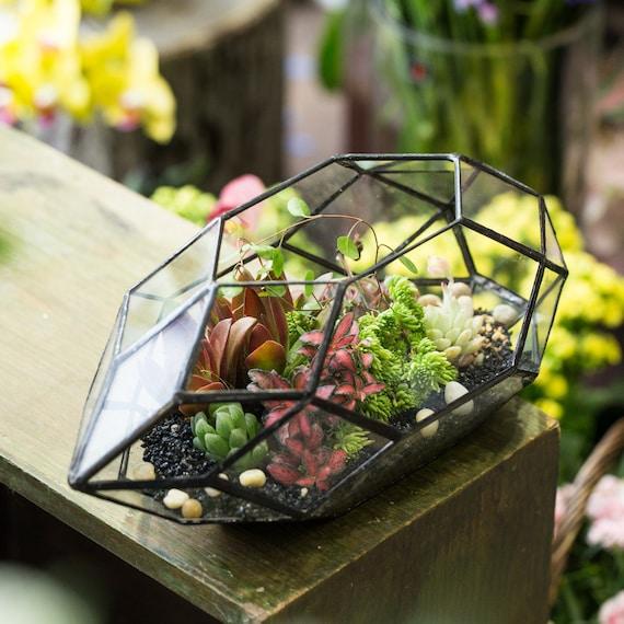 10 Inch Tall Glass Flower Planter Pot Large Irregular Etsy