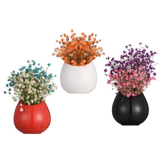 Set Of 3 Redblackwhite Ceramic Wall Vase Wall Mounted Etsy