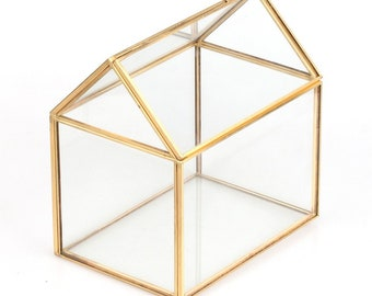 """6.1""""L x 4.3""""W x 6.3""""H Copper House Shape Moss Fern Glass Box Flower Pots Wardian Case Planters Succulents Geometric Terrarium"""